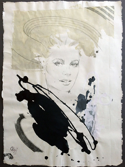 "Original work ""Grace Kelly 3"" 75x55cm, mixed media on paper"