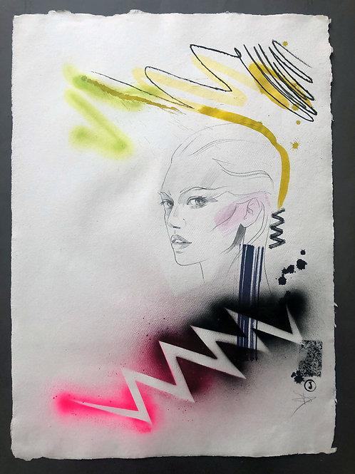 """Portrait 2020/9"" 75x55cm, mixed media on paper"