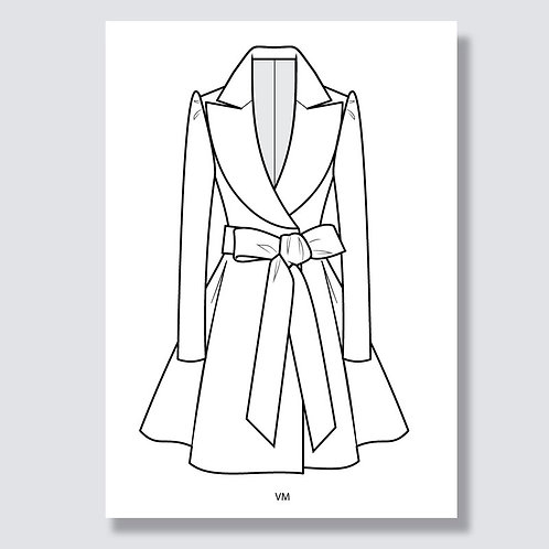 """Coat dress"" (Mantelkleid) Ai file (Adobe Illustrator)"