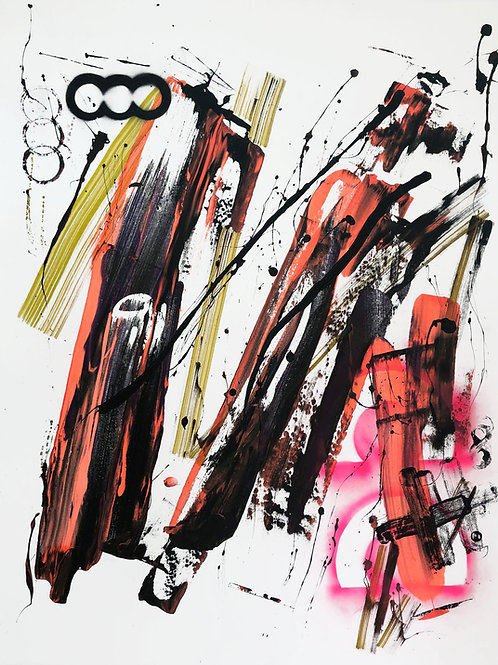 """""""Abstraction with objects 203"""" 130x100cm, acrylic on canvas"""