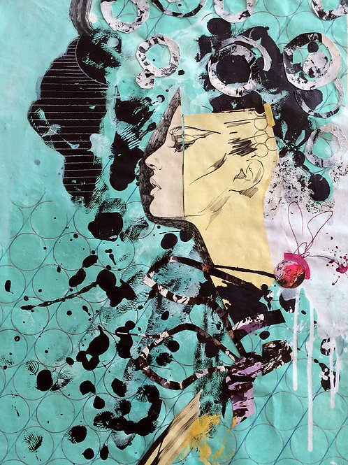 """Green portrait"" 75x55cm, collage on paper"