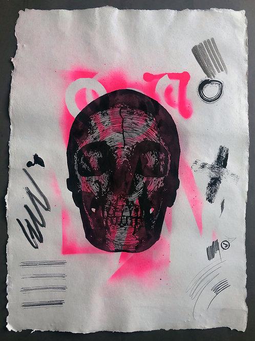 """Line skull"" 55x75cm, mixed media on paper"