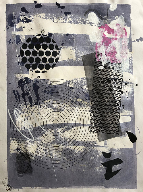 """""""Abstraction with objects 15"""" 75x55cm, mixed media on paper"""
