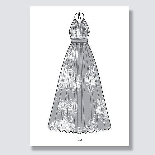 """Beach dress"" (Strandkleid) Ai file (Adobe Illustrator)"
