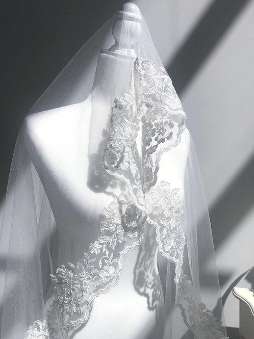 Mini Skirt Length off-white Soft Veil.