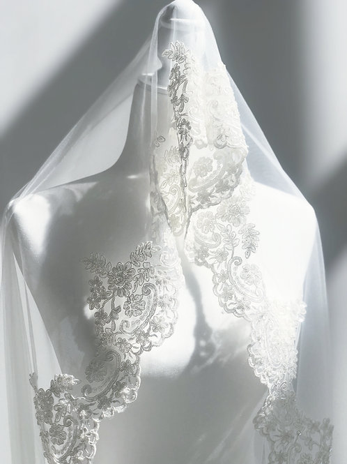 Royal Off-White Veil. Hand Beading with clear crystals.