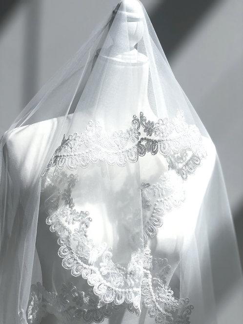 Mini Skirt Length white Veil