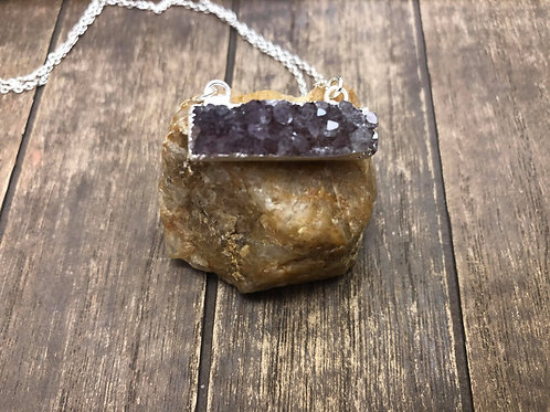 Druzy Rectangle Bar Double Bail Pendant with Electroplated Silver Edge
