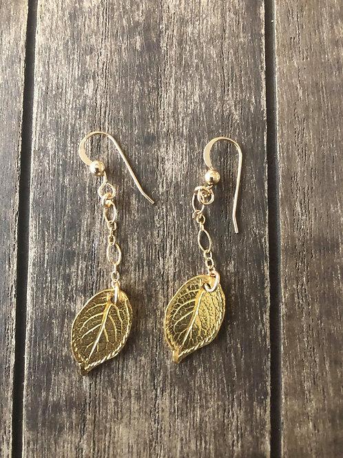14K Gold Filled Or Sterling Silver Drop Earrings RoseLeaf-Artisan