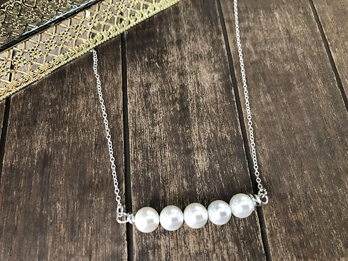 Pearl Pendant Bar Necklace, 925 Sterling Silver