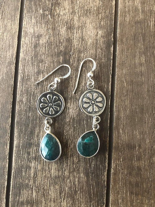 Artisan Sterling Silver Daisy connecter with birth stone earrings