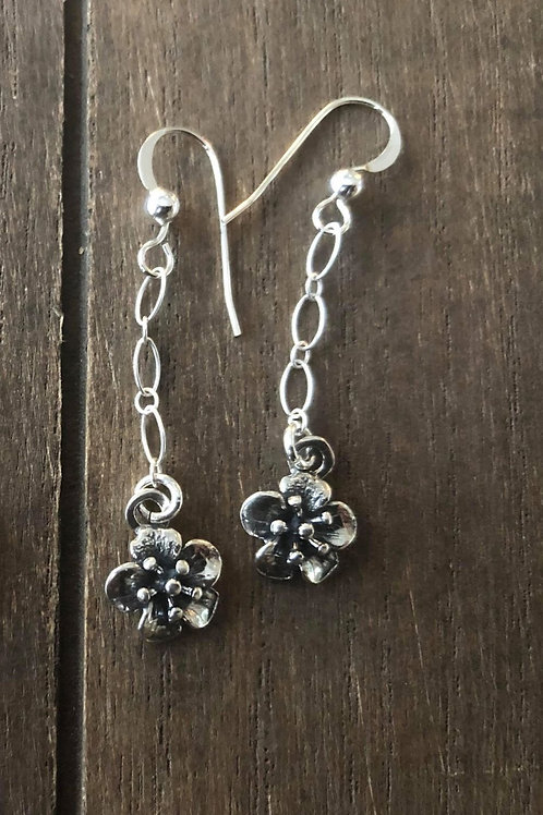 Drop Earrings Cherry Blossoms - Artisan. 925 Sterling Silver