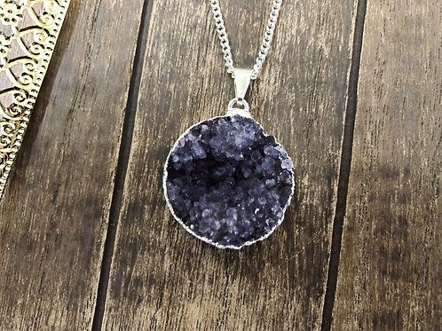 Purple Round Druzy Coin Pendant - 25mm- With Electroplated Silver