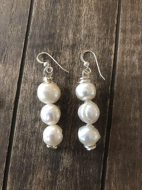 Handmade Pearl Drop Earrings,Dangle Earrings. 925 Sterling Silver