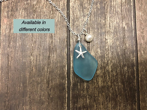 Handmade Wire Wrapped Sea Glass necklace. sterling silver