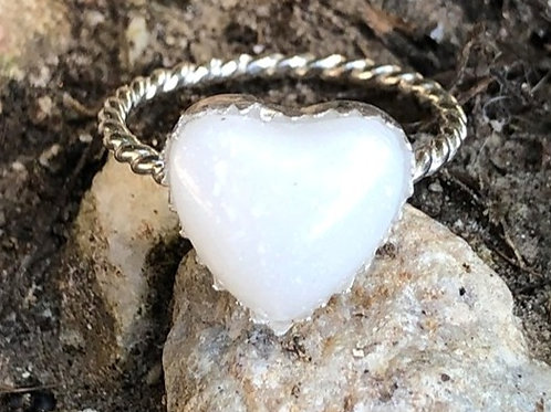 Serrated Heart Rope Ring , 925 sterling silver