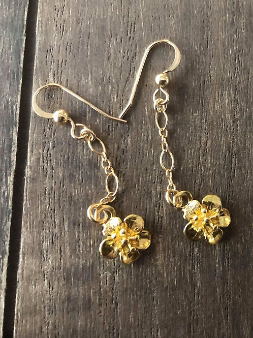 14K Gold Filled Drop Earrings Cherry Blossoms - Artisan