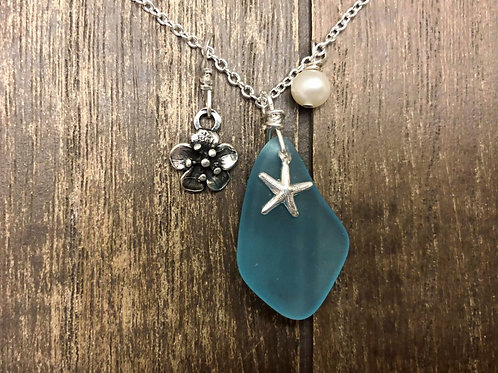 Handmade  Elegant Wire Wrapped Blue sea glass necklace,925 Sterling Silver.