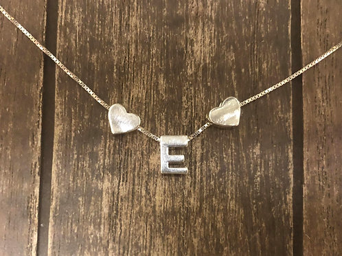 My Initial Necklace with tiny hearts in 925 Sterling Silver