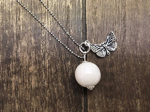 Butterfly Charm Necklace with Breastmilk Pearl In 925 Sterling Silver.