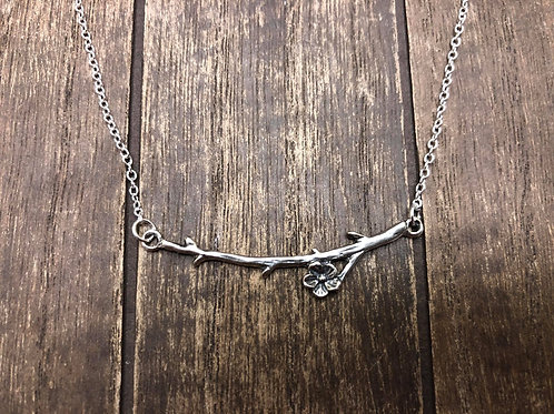 Cherry Branch  Curved  Branch Necklace in Sterling Silver