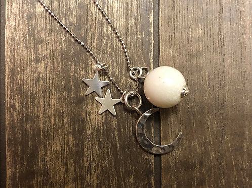 Hammered Moon and Stars Necklace in 925 Sterling Silver.