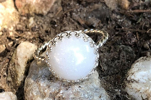 Crown Bezel Rope Ring  925 sterling silver