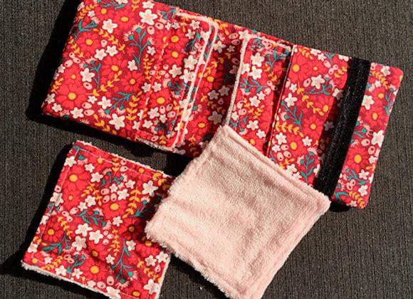 Pochette 6 lingettes 'red flowers'