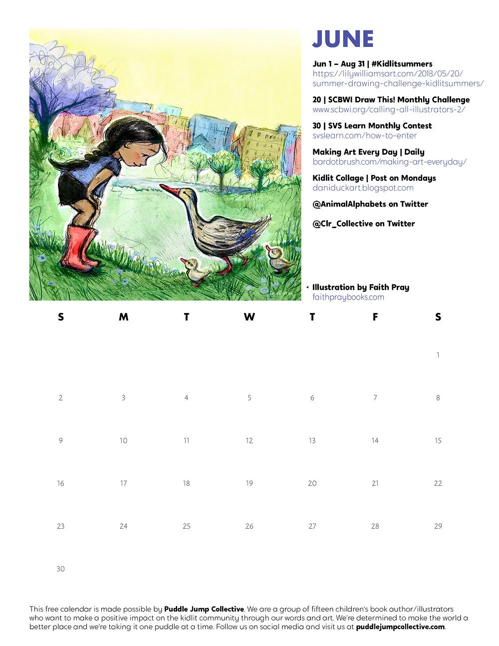 June Downloadable Calendar Page