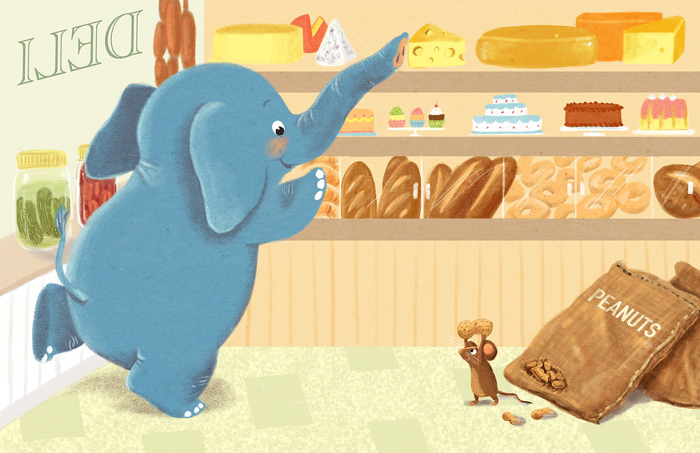 Lynnor's latest promo card: Elephant in a bakery with a mouse.
