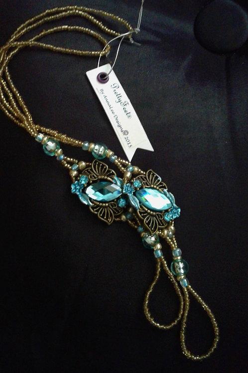 Golden Blue & Brass Butterflys - L