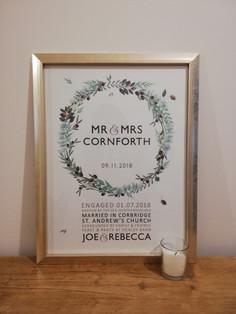 FOLIGE WREATH Wedding Gift Framed Print