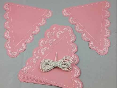Lovely Lace - Pastel Pink Bunting Flag