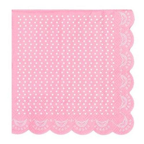 Lovely Lace - Pastel Pink Beverage Napkins