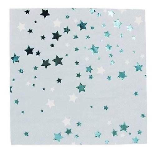 Blue Metallic Stars - Napkins
