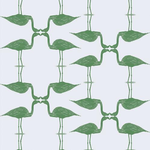 "Ekologiczna tapeta flizelinowa ""Climber Flamingos green&white"""