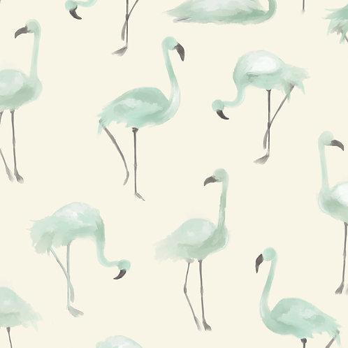"""Ekologiczna tapeta flizelinowa """"Mint flamingos"""""""