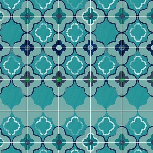 "Ekologiczna tapeta flizelinowa ""Blue tiles"""