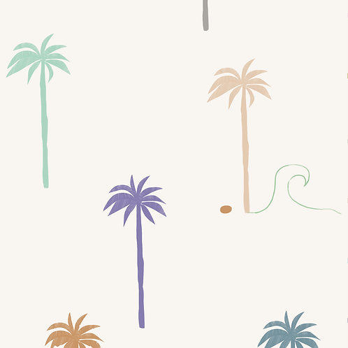 "Ekologiczna tapeta flizelinowa ""Pastel palm trees"""