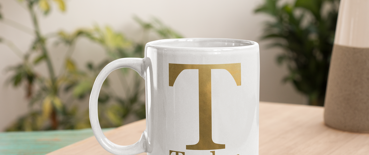 Personalized Mug Gold Initial and Name
