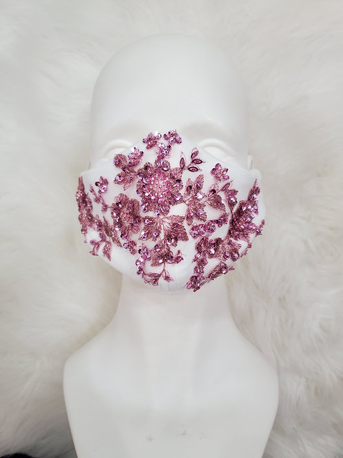 Pearl Mask with rose pink applique