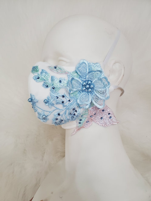 White mask with 3D flower lace