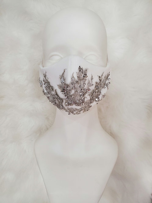 Bridal white and silver beaded mask