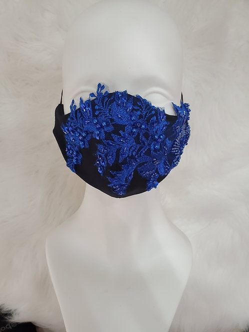 Black mask with royal blue appliques