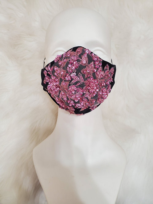 Black and pink lace mask