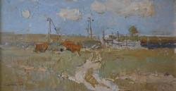 6. Sergey Kovalenko. Farm.  11x21inches. oil on panel. $1000.jpg