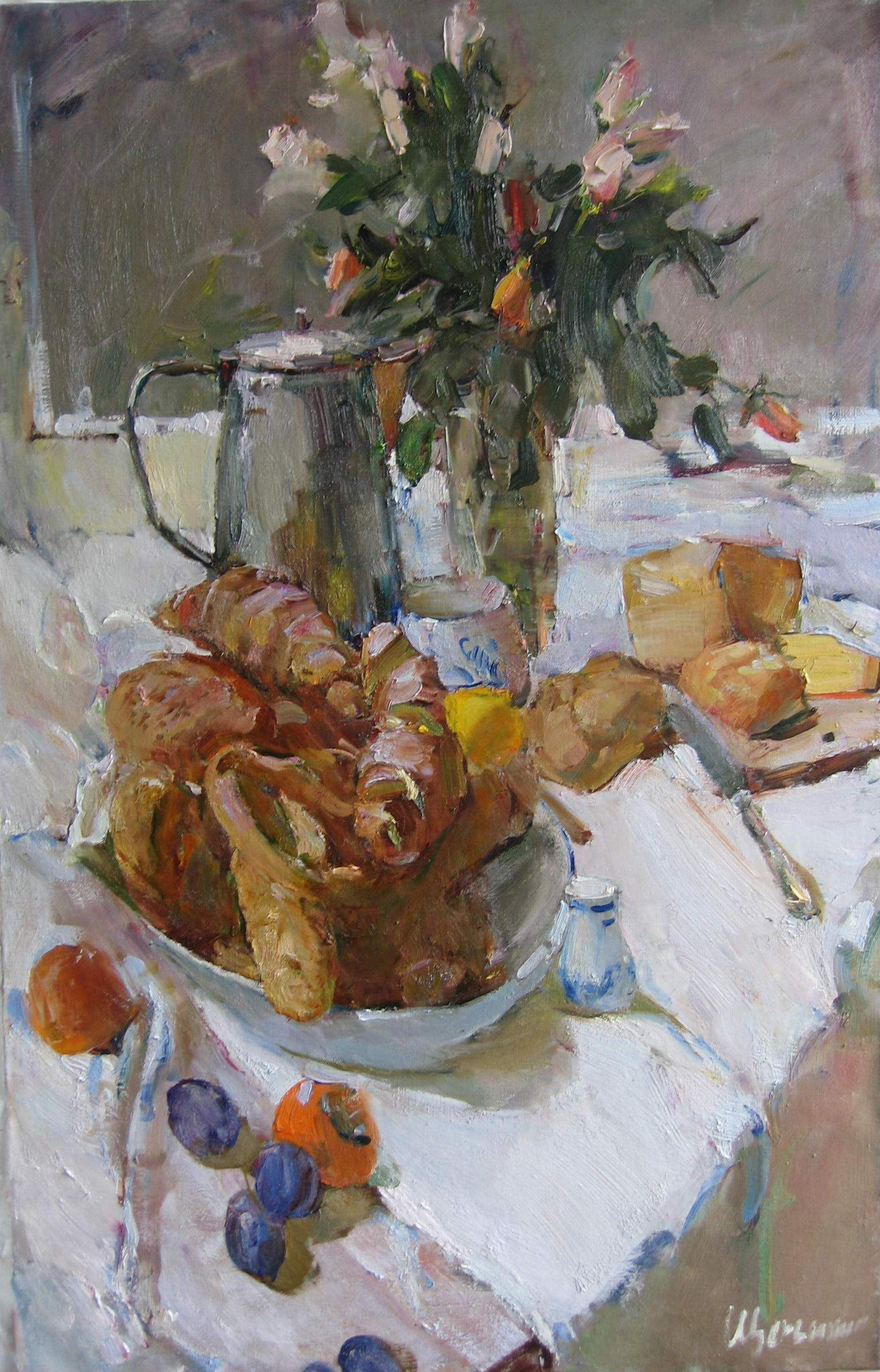 Lydmila Sherbinina . Still life with the bread. 39x27in. oil on canvas.JPG
