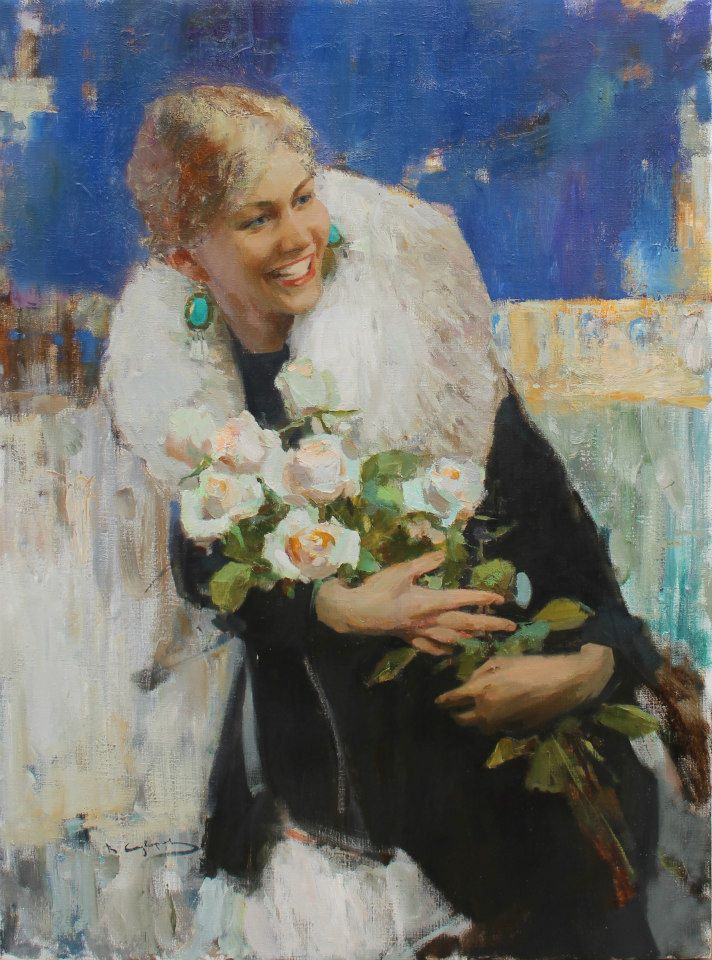 Vadim Suvorov. Woman with flowers. 27x39 inches..jpg