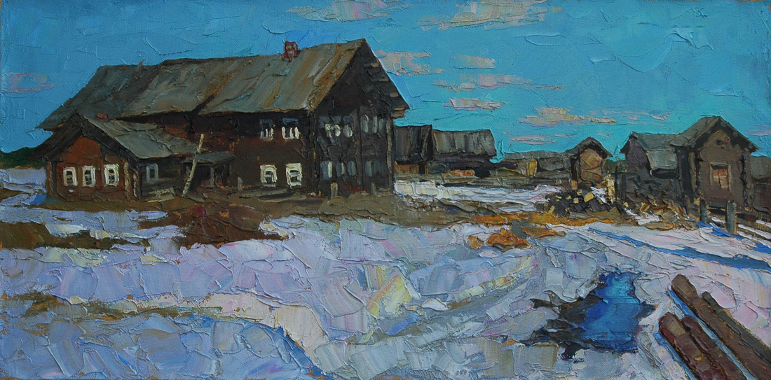 Alexi Kamenev. Northen Village. 30x60in . oil on canvas.jpg