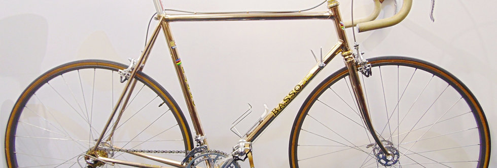 Vintage Basso Gold Plated Bike 57cm Campagnolo Super Record Cinelli 1980's